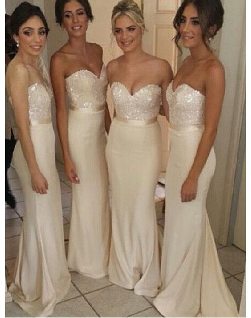 Ivory Bridesmaid Gown Pretty Prom Dresses Satin Prom Gown Simple Bridesmaid Dress Beaded Bridesmaid Dresses Sequined Bridesmaid Gowns