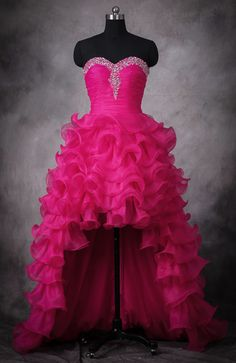 High Low Prom Dresses,Hot Pink Wedding Dress,