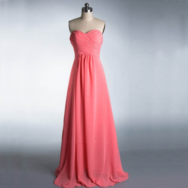 pink sweetheart chiffon long dress