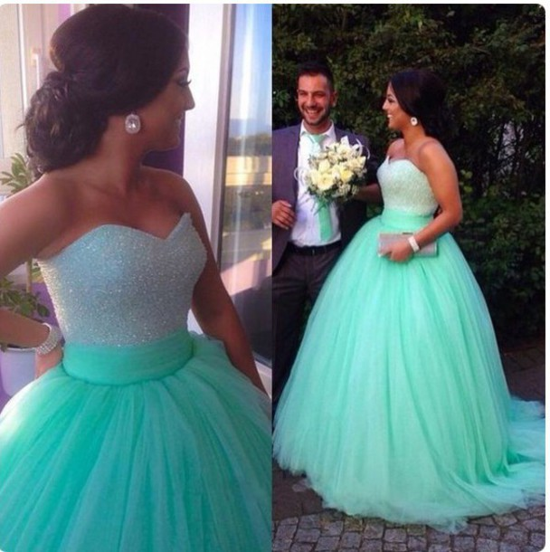 Mint Green Prom Dress,Ball Gown Prom Dress,Princess Prom Gown,Beaded ...