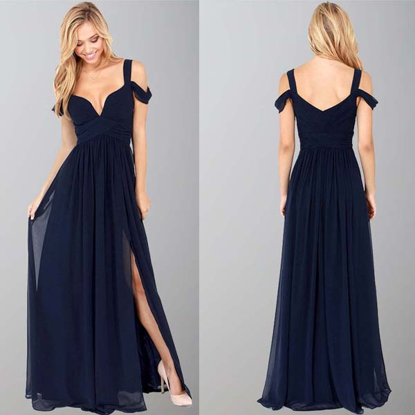 Navy Blue Bridesmaid Gown Chiffon Prom Dress Straps Prom