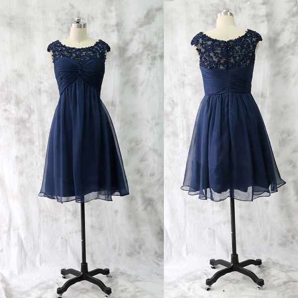 Lace Bridesmaid Dress Short Gown Navy Blue Gowns Wedding Dresses