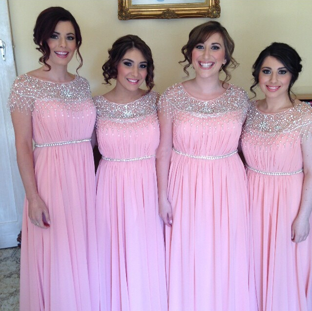 Light Pink Bridesmaid Gown Beaded Prom Dresses Chiffon Simple Dress Beading Fall Wedding Gowns Cap Sleeves