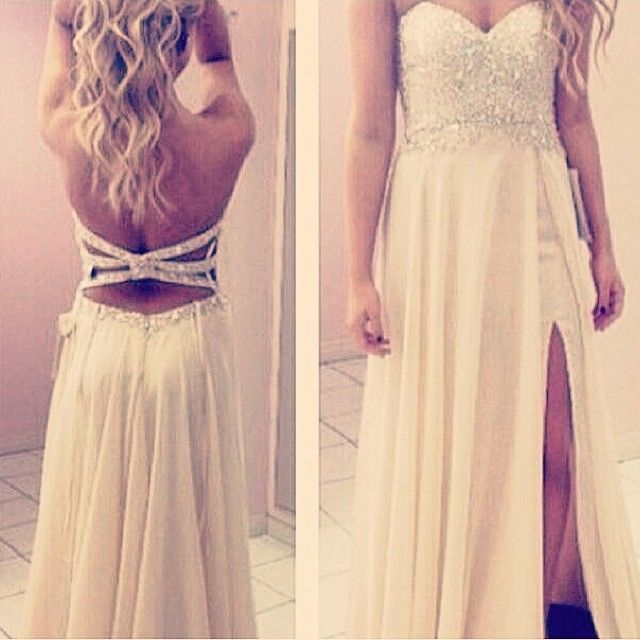 Backless Ivory Evening Gown