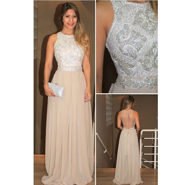 Backless Prom Dresses,Chiffon Prom Gowns,Champagne Prom Dresses,Long ...