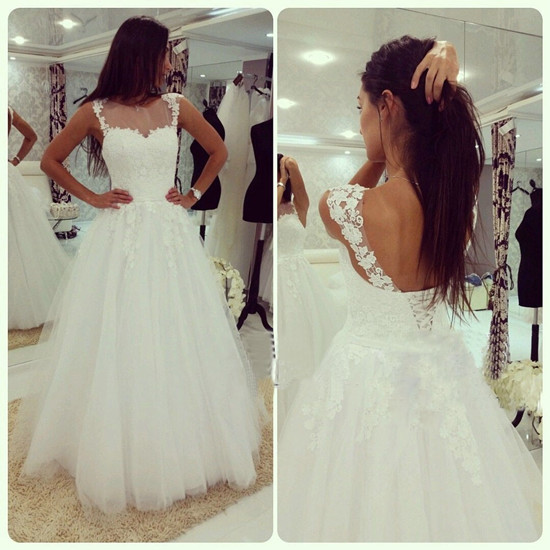 White Wedding Dresses 2016 Wedding Gown Lace Wedding Gowns Ball Gown Bridal Dress Fitted Wedding Dress Corset Brides Dress Vintage Wedding