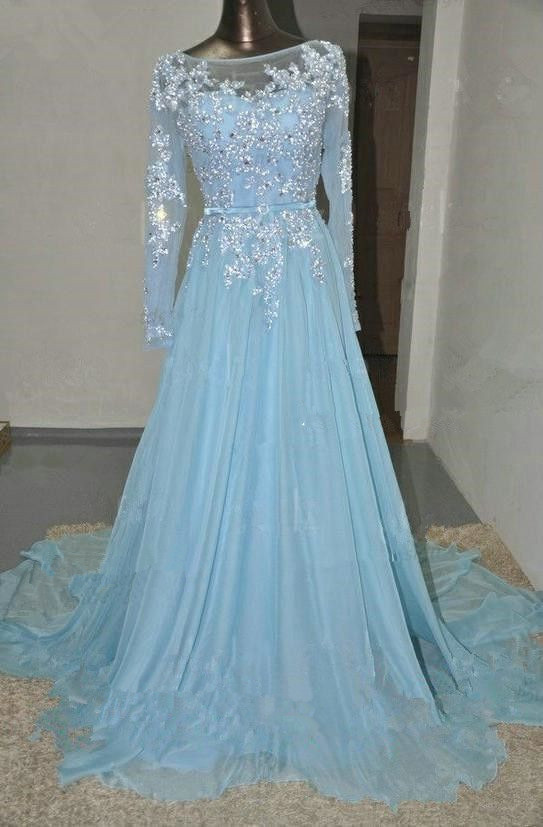 Light Sky Blue Prom Dresses bcf3f7764