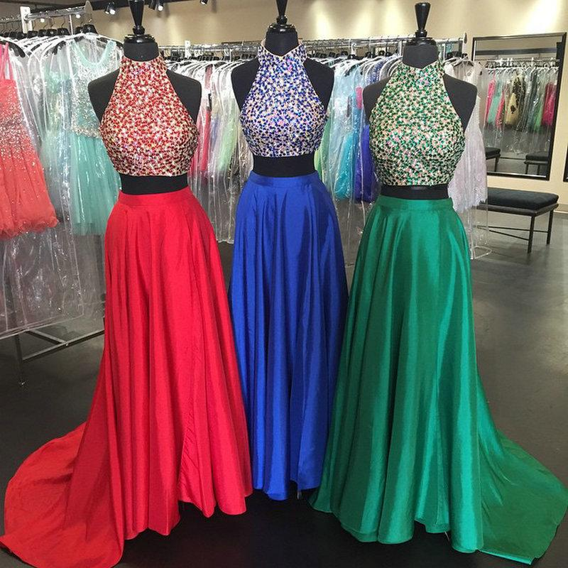 Royal Blue Prom Dresses 2 Piece Prom Gown Two Piece Prom