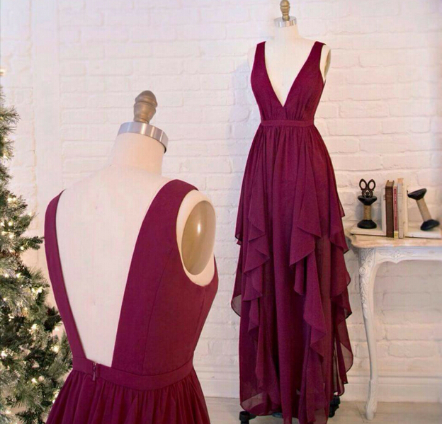 Burgundy Prom Dresses Wine Red Evening Gowns Modest Formal 2016 New Fashion Gown High Low Dress Long