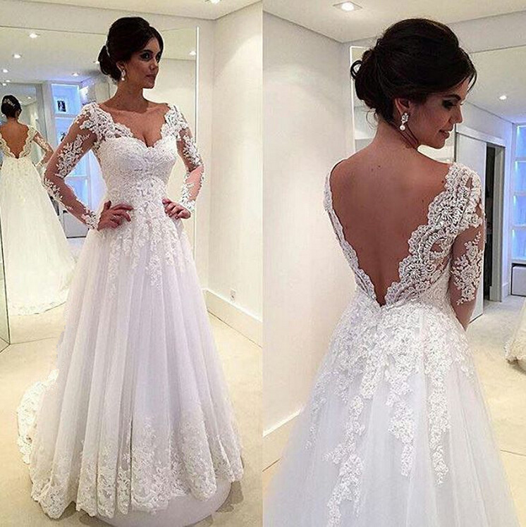 3ed3703bb42b White Wedding Dresses,Long Sleeves Wedding Gown,Lace Wedding Gowns,Ball Gown  Bridal Dress,Princess Wedding Dress,2016 Beautiful Brides Dress With Long  Train ...