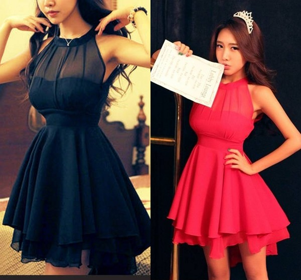 Elegant Navy Blue Homecoming Dress Chiffon Short Prom Dress Sweet 16