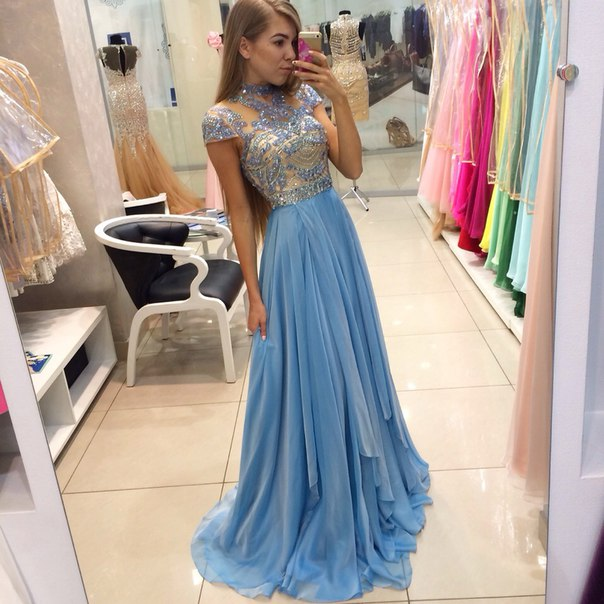 7658826e0cfd Blue Prom Dresses,Elegant Evening Dresses,Long Formal Gowns,Beaded Party  Dresses,Chiffon Pageant Formal Dress,Prom Dresses