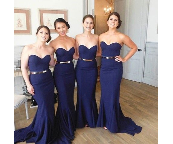 Custom Made Royal Blue Sweetheart Neckline Mermaid Evening Dress Bridesmaid Dresses Bridal Collection Prom