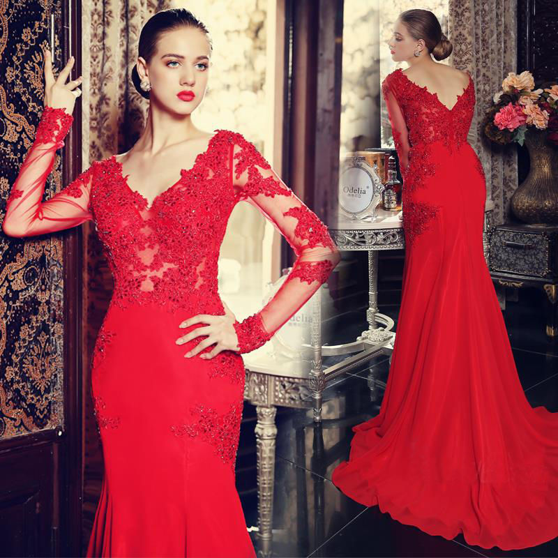 Red Prom Dress,Mermaid Prom Dress,Lace Prom Gown,Prom Dresses,Sexy Evening Gowns,Long Sleeves Evening Gown,Formal Dress For Teens