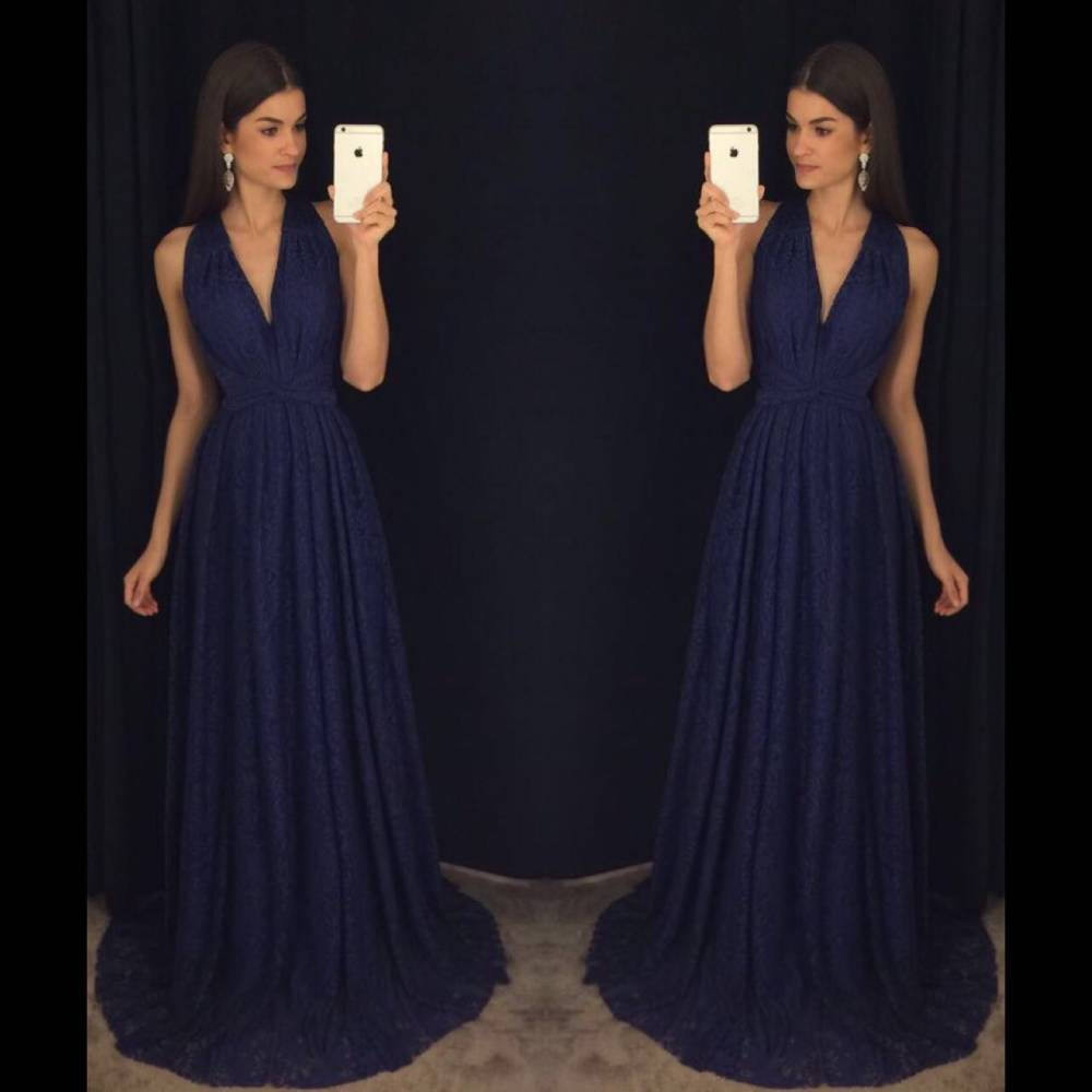 Navy Blue Prom Dresses Elegant Evening Long Formal Gowns Party Chiffon Pageant Dress