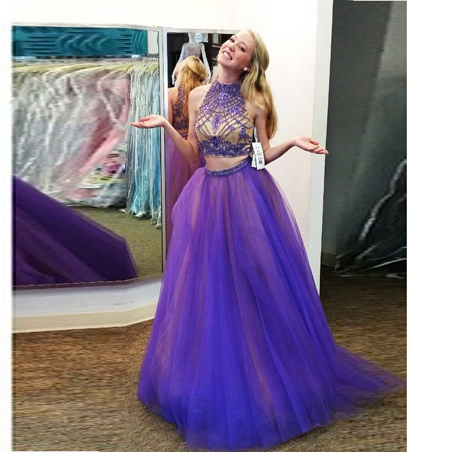 2 Piece Prom Gowntwo Piece Prom Dressesgrape Evening Gowns2