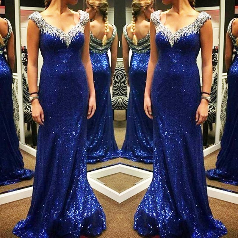 Royal Blue Sequin Prom Dress Shiny Prom Dress Mermaid Prom Dress