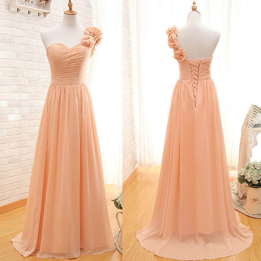 One Shoulder Bridesmaid Gown,Pretty Prom Dresses,Chiffon