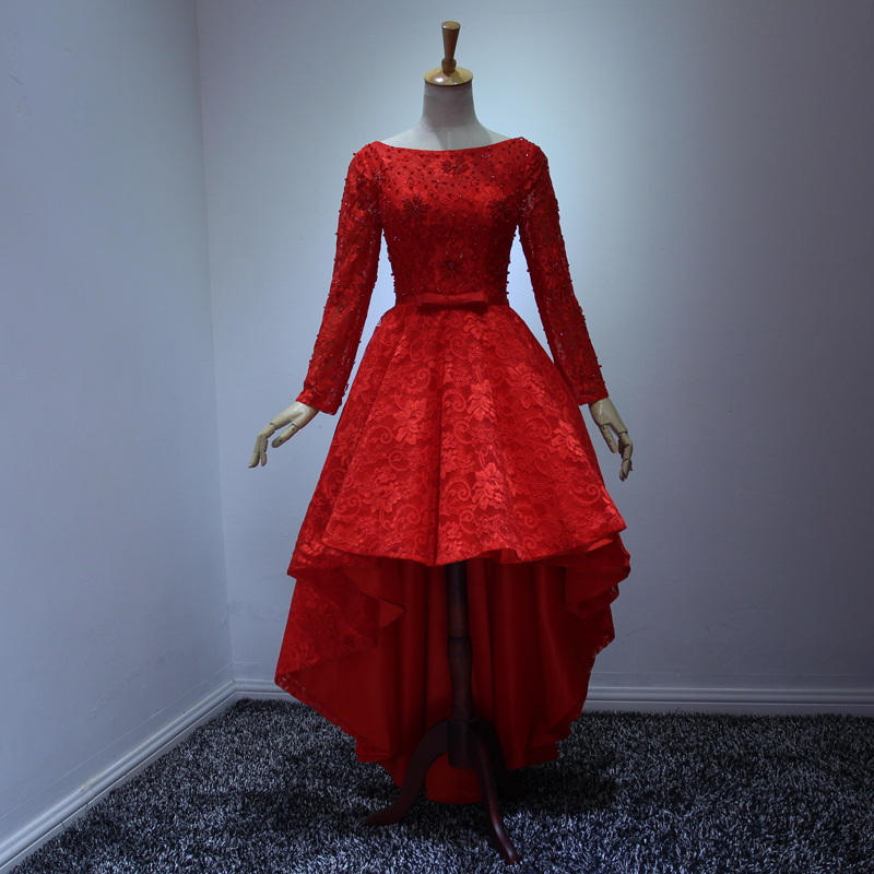 d4b2b0cca21 Hot Fashion Red Party Dresses Scoop Long Sleeve Lace Up High Low Cocktail  Prom Evening Gowns