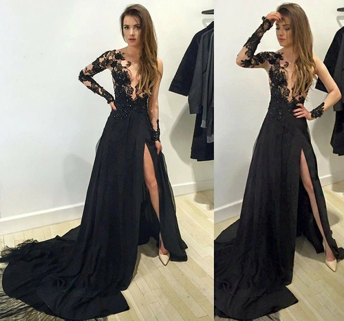 3c394e1a037d Long sleeve prom dress,black lace long prom dress,evening dress,black prom  dress,prom dress