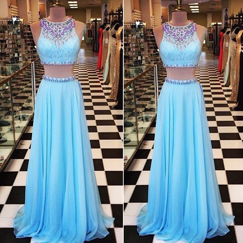 Blue Prom Dress, Two Piece Prom Dresses, Lace Prom Dress, Sexy ...
