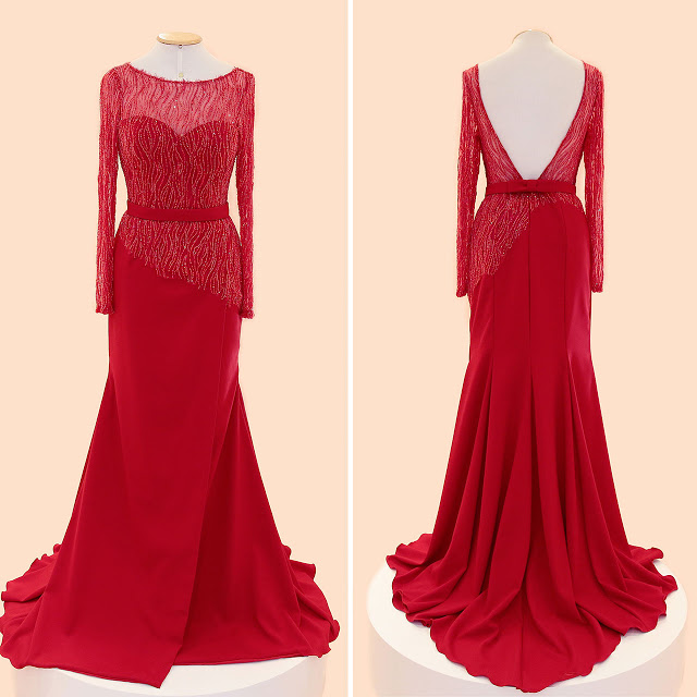 Red Prom Dresses,Charming Prom Dress,Chiffon Prom Dress,Beading Prom Dress,Long-Sleeves Prom Dress,Backless Evening Dress