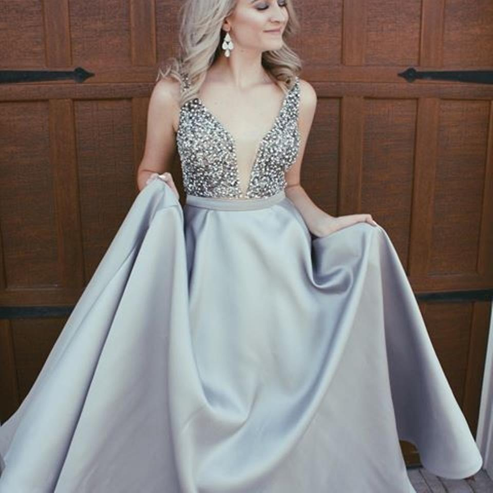 Modest Prom Dresses,Sexy New Prom Dress,Elegant Sparkly Beads Top A ...