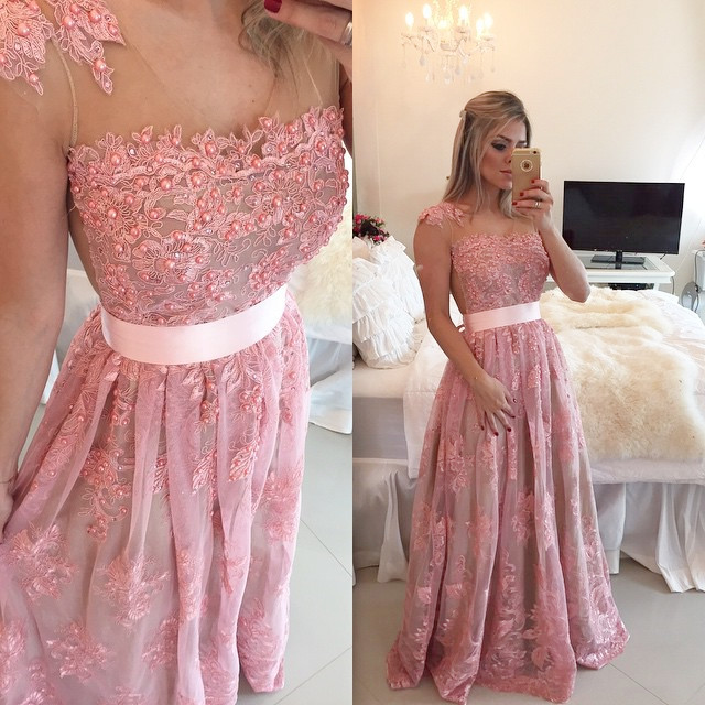 a3e7b0e23674 Prom Dresses,Pink Evening Gowns,Lace Formal Dresses,Prom Dresses With  Straps,Fashion Evening Gown,Beautiful Evening Dress,Pink Formal Dress,Lace  Prom Gowns