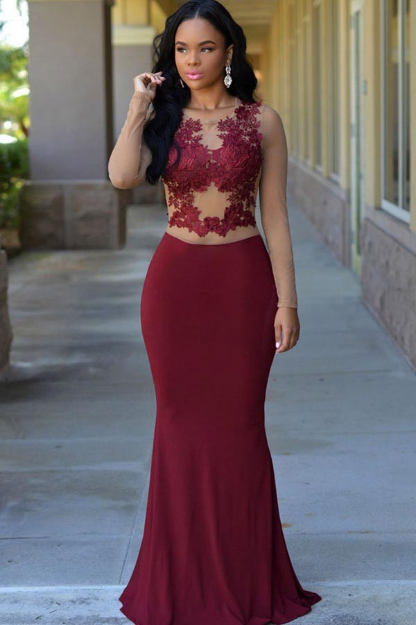 16466633e219 New Arrival Prom Dress,Modest Prom Dress,Modern Long 2017 Evening Dress  Burgundy Mermaid Long With Appliques