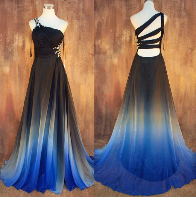New Gradient Ombre Chiffon Prom Dresses Sexy Backless Beading