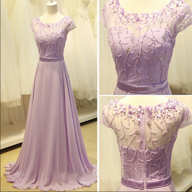 2bd320a3b8a6 New Arrival Prom Dress,Modest Prom Dress,Cap Sleeve Light Purple Long  Chiffon Prom Dress A Line Party Dresses Bridesmaid Dress