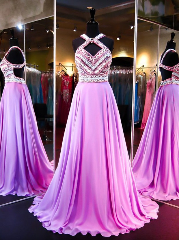 Pretty Fashion Prom Dresses,Backless Evening Party Gown,Chiffon Beading Prom Dresses,Floor-Length Evening Dresses