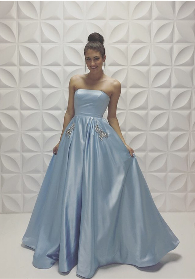 b5020a939a2e8 A-line Baby-Blue Sleeveless Strapless Beads Newest Prom Dress on Luulla