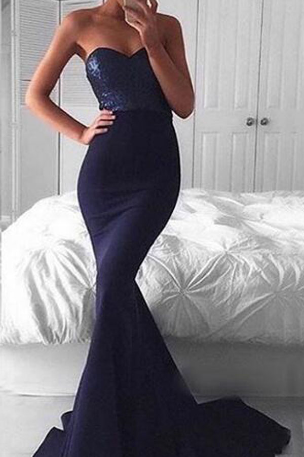 Elegant Sweetheart Sweep Train Navy Mermaid Prom Dress with Sequins Celebrity Dresses