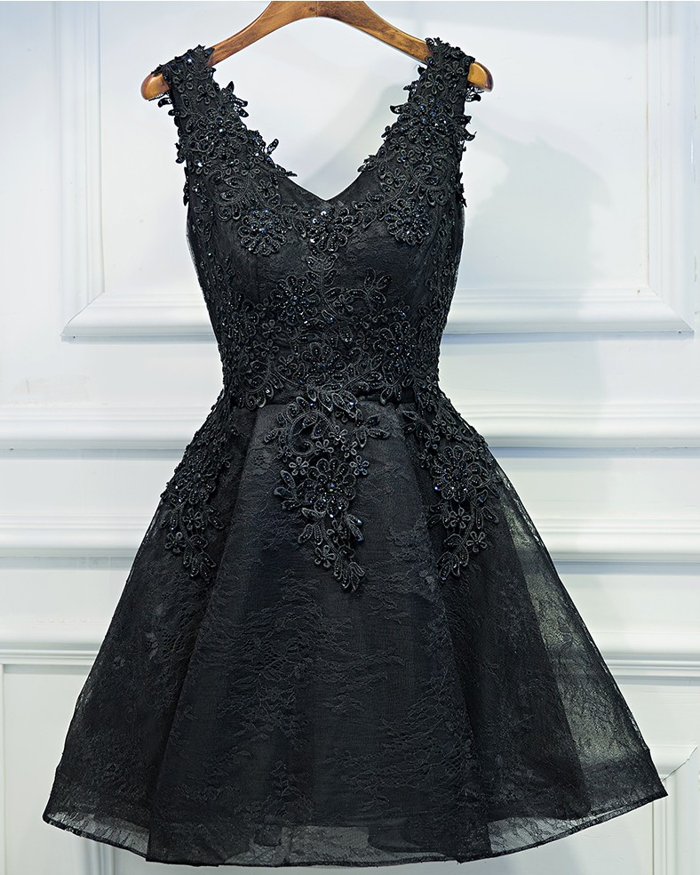 bb29a01d22 Sexy Black Short Prom Dress