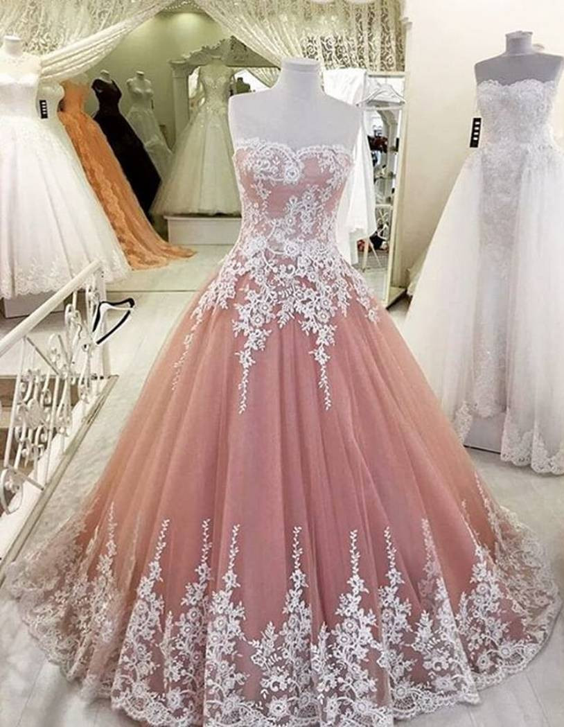 Elegant A-Line Applique Prom Dress, Blush Prom Dress, Lace Tulle ...