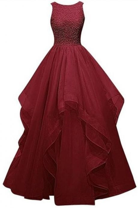 Burgundy Prom Dresses,Wine Red Prom Dresses,Formal Gown,Ball Gown Evening Gowns,Modest Party Dress,Prom Gown For Teens