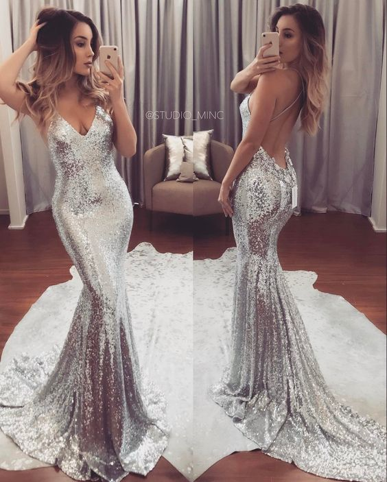 ab6b763617b Silver Prom Dress,Sexy Prom Dress,Sequined Prom Dresses,Formal Gown,Evening