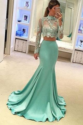 Mint Green Prom Dresses, 2 Piece Prom Gowns,2 piece Prom Dresses,Lace Prom Dresses,Prom Gown,Prom Dress With Lace For Teens