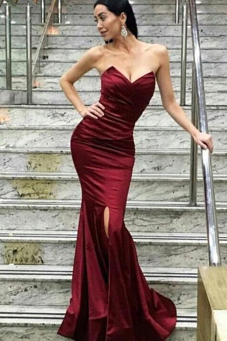 New Arrival Prom Dress,Modest Prom Dress,burgundy evening gowns,wine red prom dresses,lace prom dresses,sexy mermaid dress