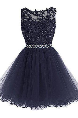 Homecoming Dress,Cute Homecoming Dress,Tulle Homecoming Dress,Short Prom Dress,Navy Blue Homecoming Gowns,Beaded Sweet 16 Dress