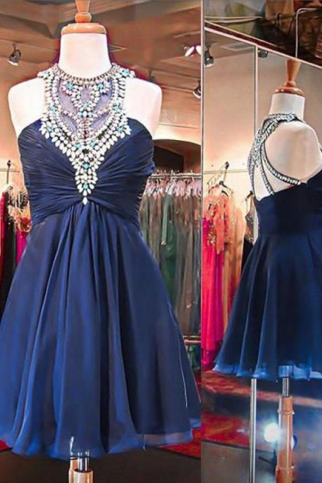 Navy High Neck Homecoming Dresses, Rhinestone Homecoming Dresses, Chiffon Homecoming Dresses, Homecoming Dresses, Juniors Homecoming Dresses