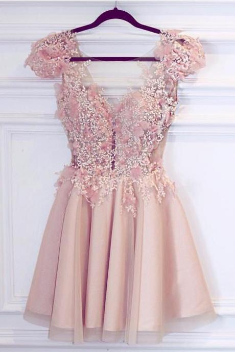 satin prom dress,pink homecoming dress,short prom dress,chic party dress,elegant dresses,semi formal dress