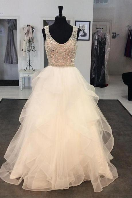 white prom dress,crystal beaded prom dress,ball gowns prom dress,prom dresses