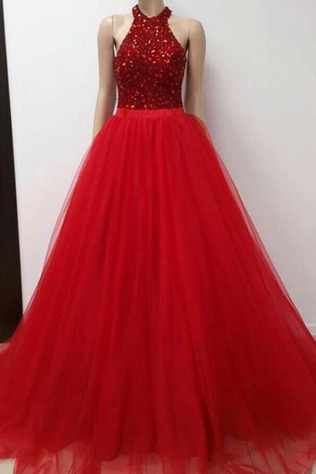 halter prom gowns,crystal beaded prom dress,tulle prom dress,ball gowns prom dresses,long evening dress