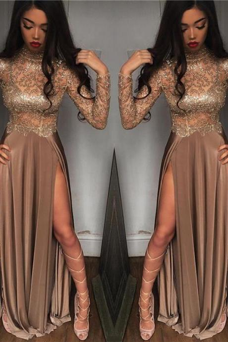 High Neck Champagne Gold Sexy Evening Dress Splits Long Sleeve Illusion Prom Dress