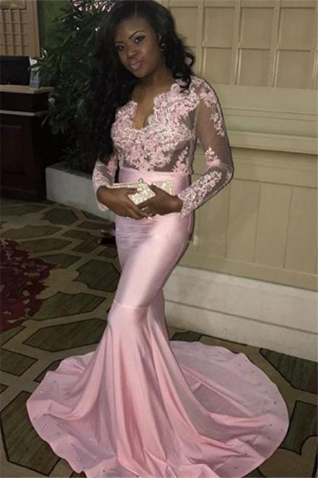 Lace-Appliques Pink Mermaid V-neck Long-Sleeves Long Sweep-Train Evening Dress