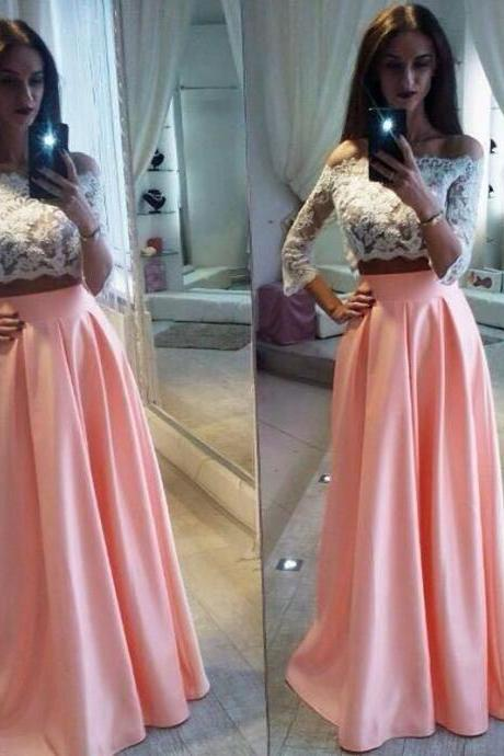 Elegant Lace Two Pieces Formal Dress Cheap A-Line Off The Shoulder Pink Prom Dress