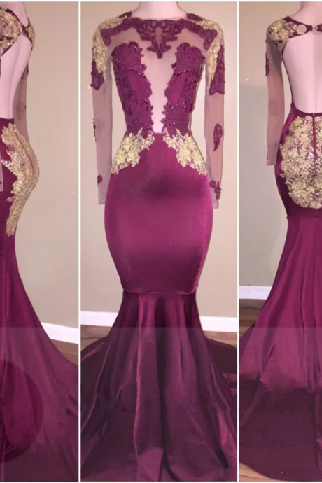 Gorgeous Mermaid Appliques Long-Sleeve Open-Back Zipper Prom Dress