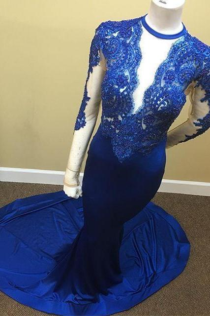 Mermaid Scoop Royal-Blue Lace Long-Sleeve Appliques Tulle Sheer Prom Dress